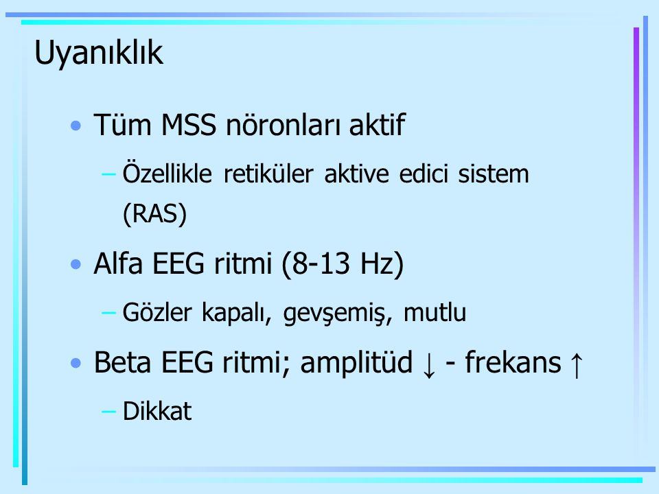 Uyanıklık Tüm MSS nöronları aktif Alfa EEG ritmi (8-13 Hz)