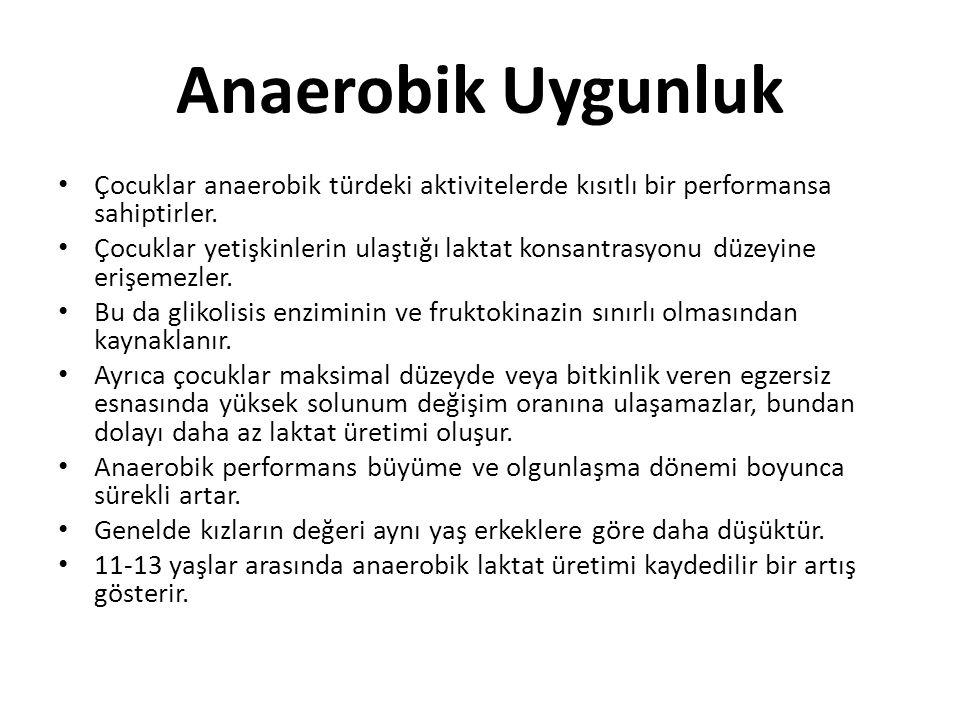 Anaerobik Uygunluk Çocuklar anaerobik türdeki aktivitelerde kısıtlı bir performansa sahiptirler.