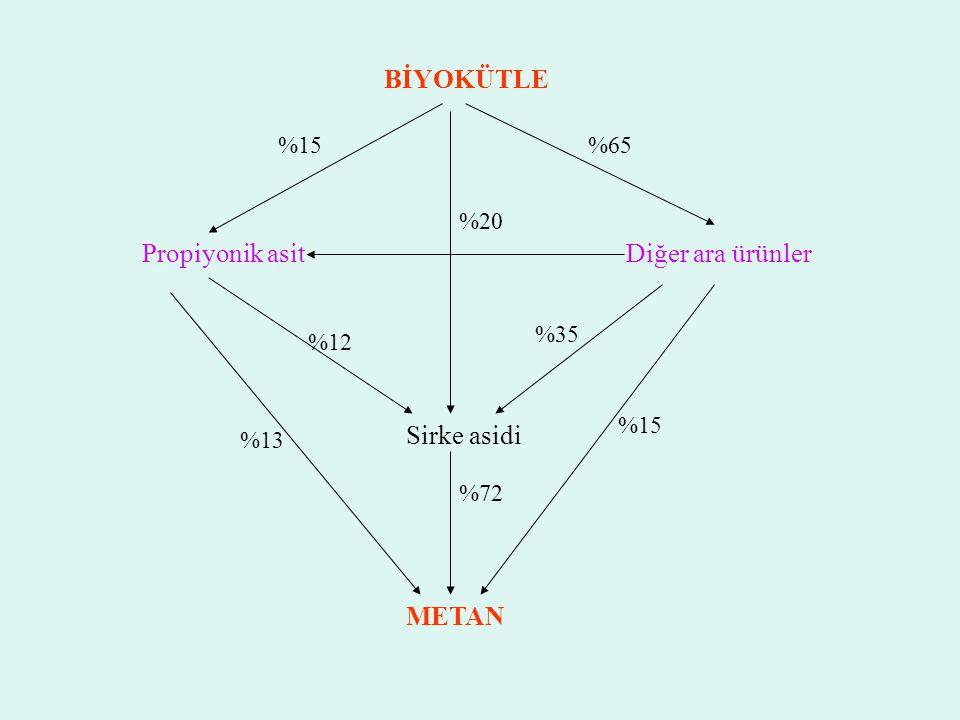 BİYOKÜTLE Propiyonik asit Diğer ara ürünler Sirke asidi METAN %15 %65
