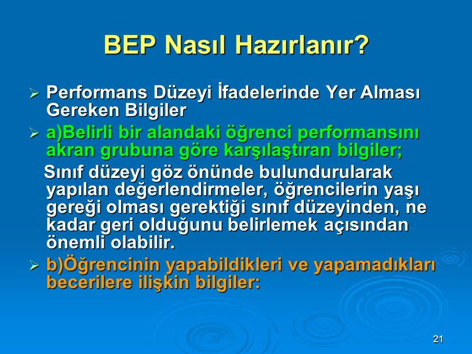 BEP Nasıl Hazırlanır Performans Düzeyi İfadelerinde Yer Alması Gereken Bilgiler.