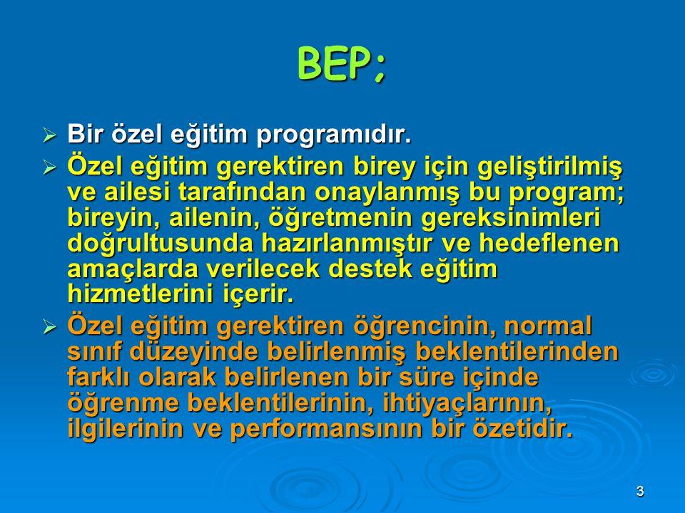 BEP; Bir özel eğitim programıdır.