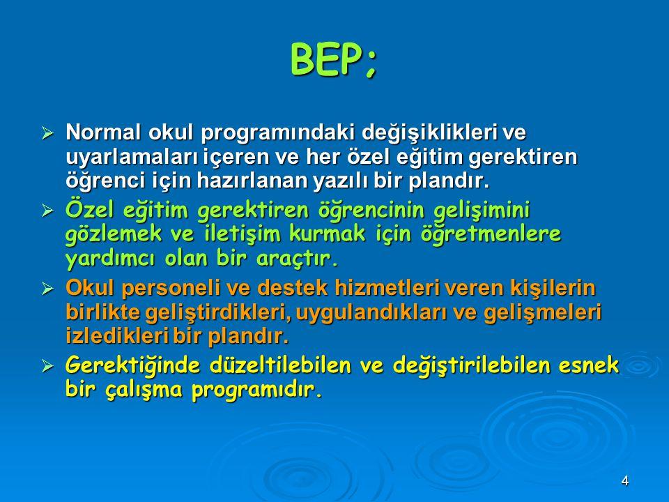BEP; Normal okul programındaki değişiklikleri ve uyarlamaları içeren ve her özel eğitim gerektiren öğrenci için hazırlanan yazılı bir plandır.