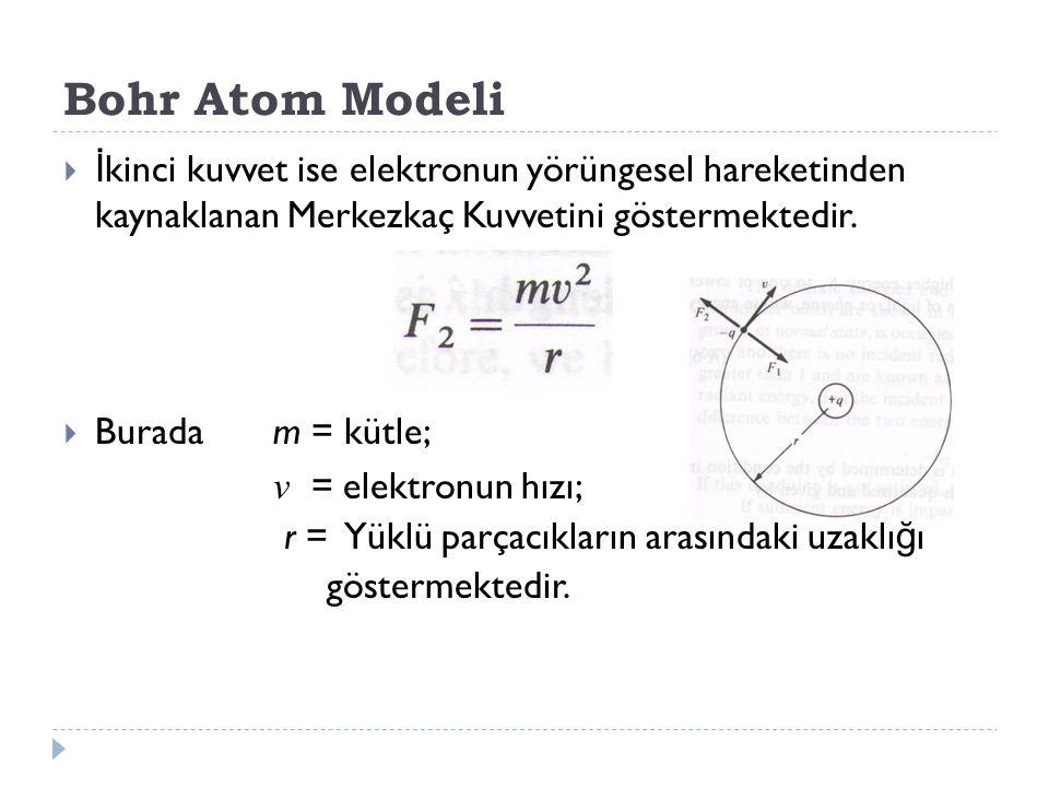 Bohr Atom Modeli İkinci kuvvet ise elektronun yörüngesel hareketinden kaynaklanan Merkezkaç Kuvvetini göstermektedir.