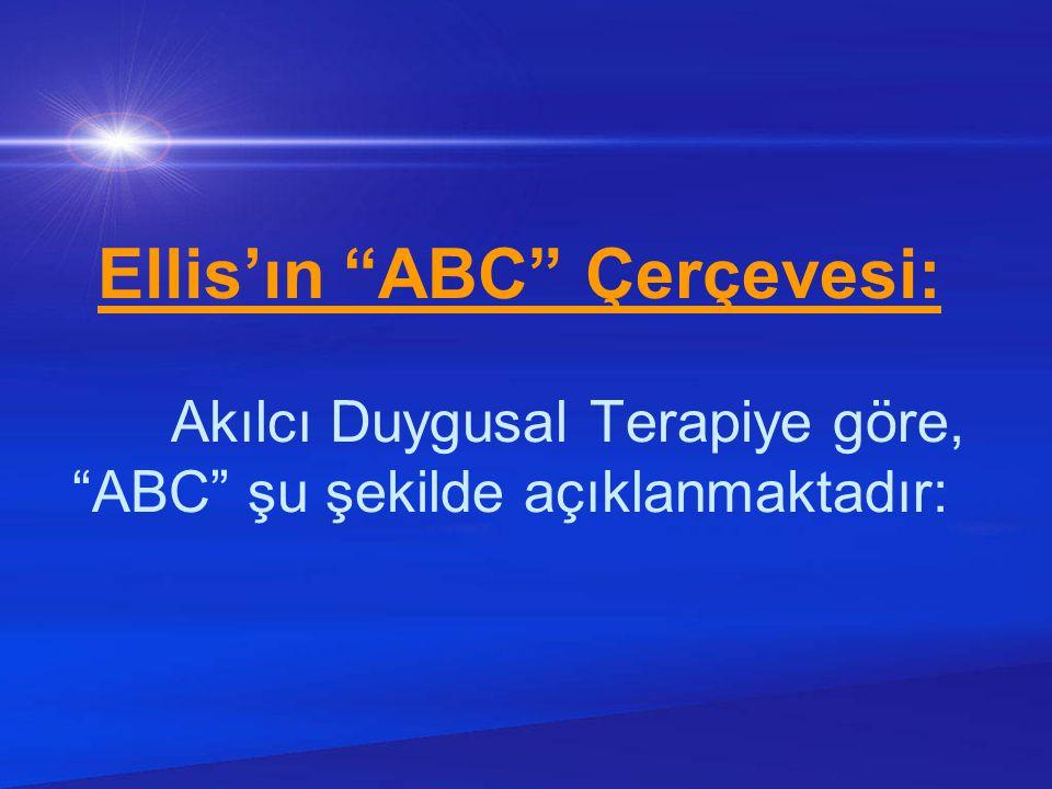 Ellis'ın ABC Çerçevesi: Akılcı Duygusal Terapiye göre, ABC şu şekilde açıklanmaktadır: