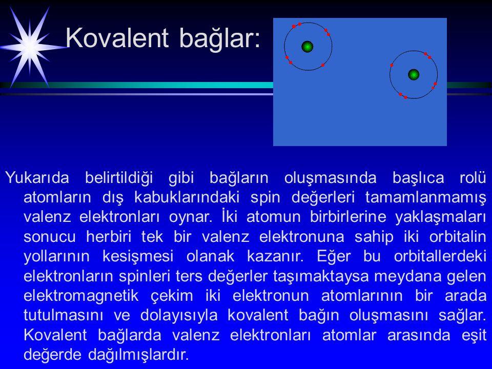 Kovalent bağlar: