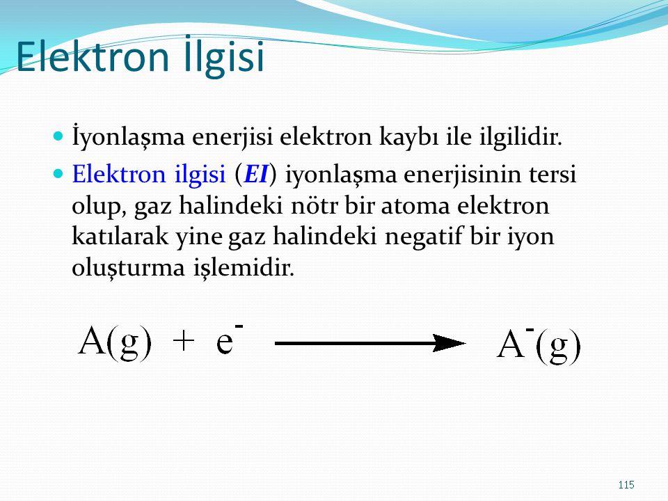 Elektron İlgisi İyonlaşma enerjisi elektron kaybı ile ilgilidir.