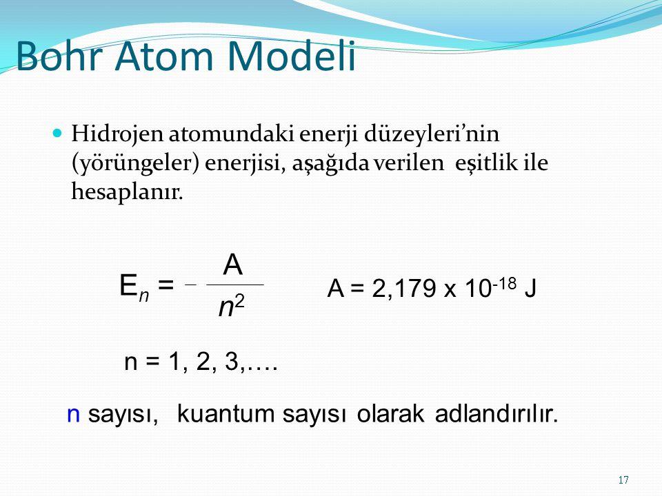 Bohr Atom Modeli A En = n2 A = 2,179 x 10-18 J n = 1, 2, 3,….