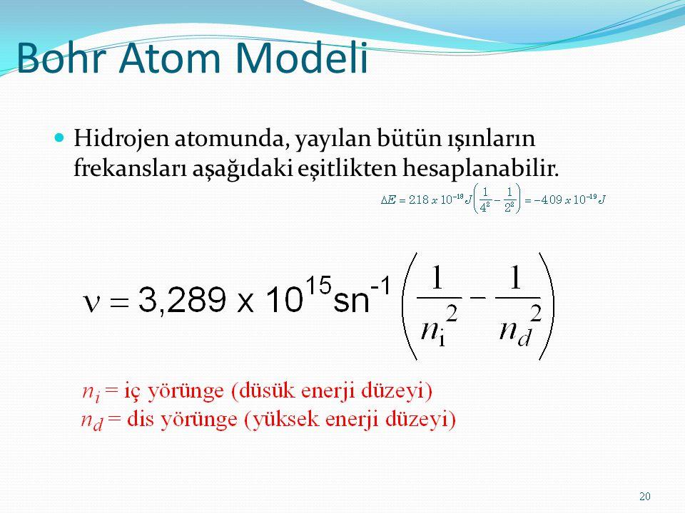 Bohr Atom Modeli Hidrojen atomunda, yayılan bütün ışınların frekansları aşağıdaki eşitlikten hesaplanabilir.