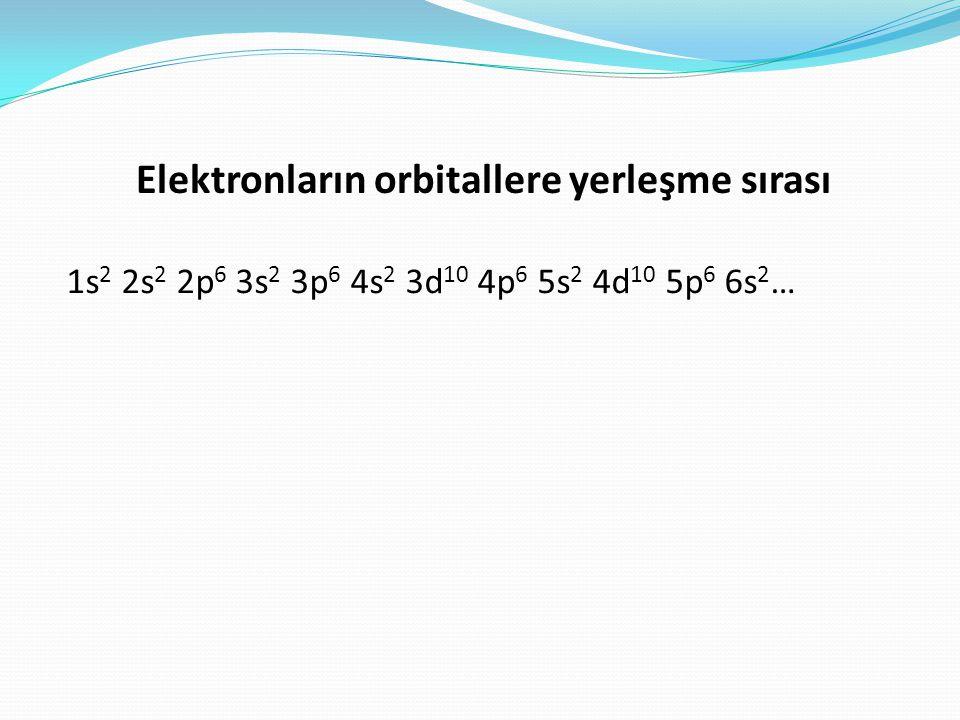 Elektronların orbitallere yerleşme sırası