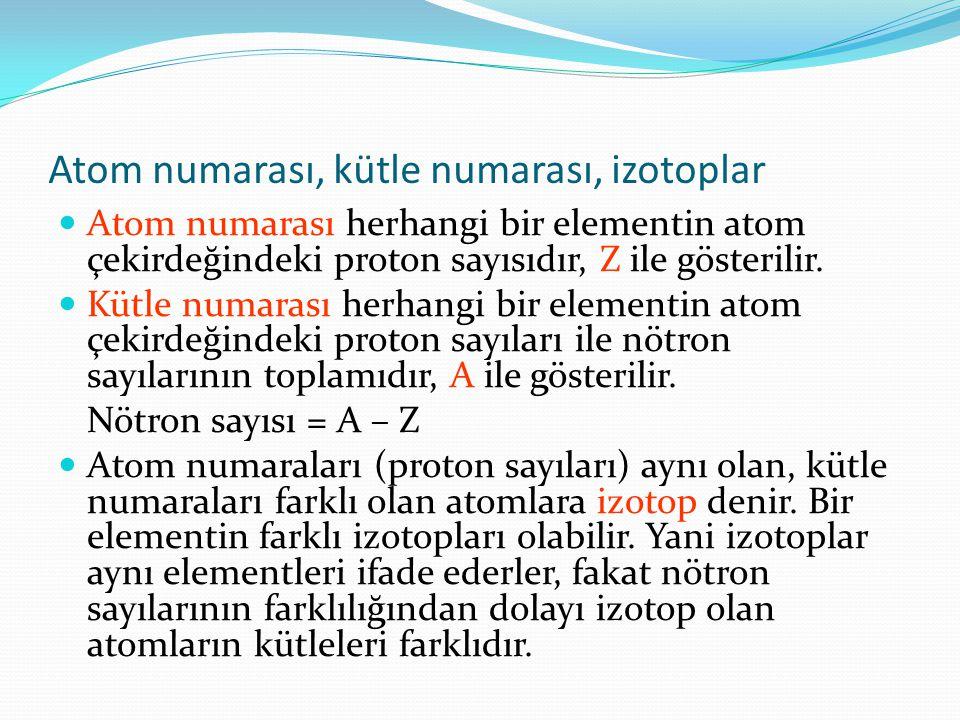 Atom numarası, kütle numarası, izotoplar