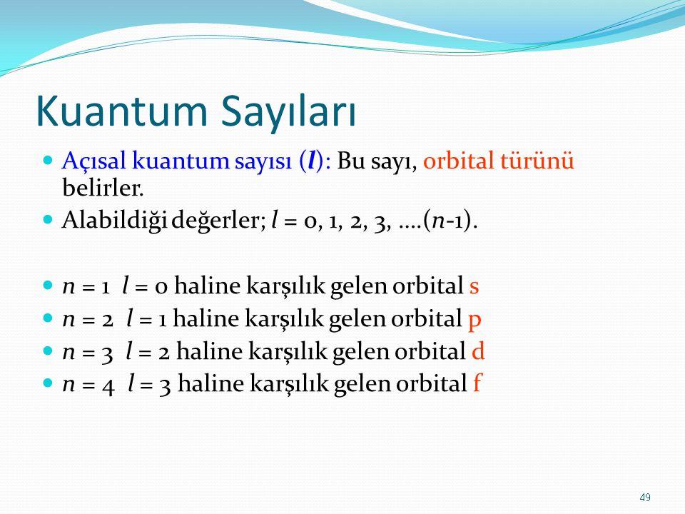 Kuantum Sayıları Açısal kuantum sayısı (l): Bu sayı, orbital türünü belirler. Alabildiği değerler; l = 0, 1, 2, 3, ….(n-1).