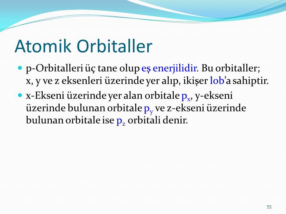 Atomik Orbitaller p-Orbitalleri üç tane olup eş enerjilidir. Bu orbitaller; x, y ve z eksenleri üzerinde yer alıp, ikişer lob'a sahiptir.