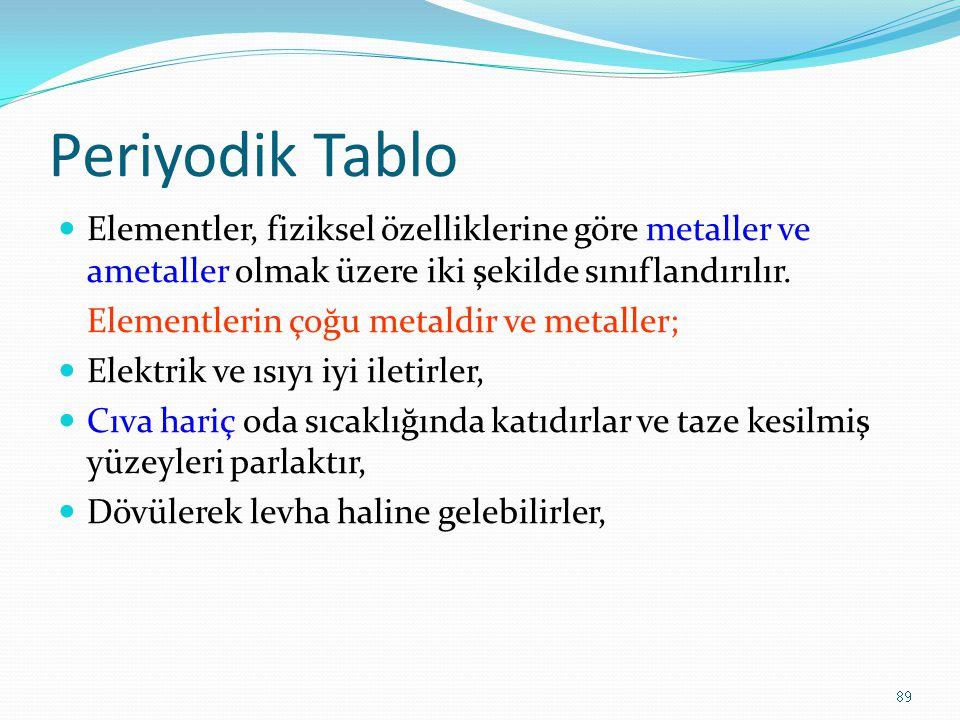Periyodik Tablo Elementler, fiziksel özelliklerine göre metaller ve ametaller olmak üzere iki şekilde sınıflandırılır.