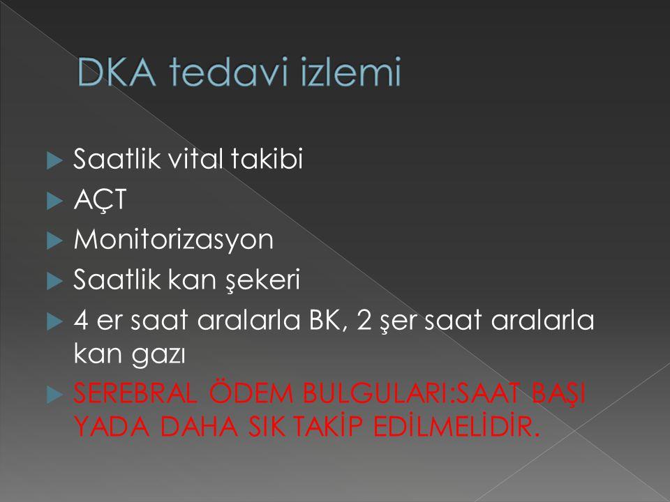 DKA tedavi izlemi Saatlik vital takibi AÇT Monitorizasyon