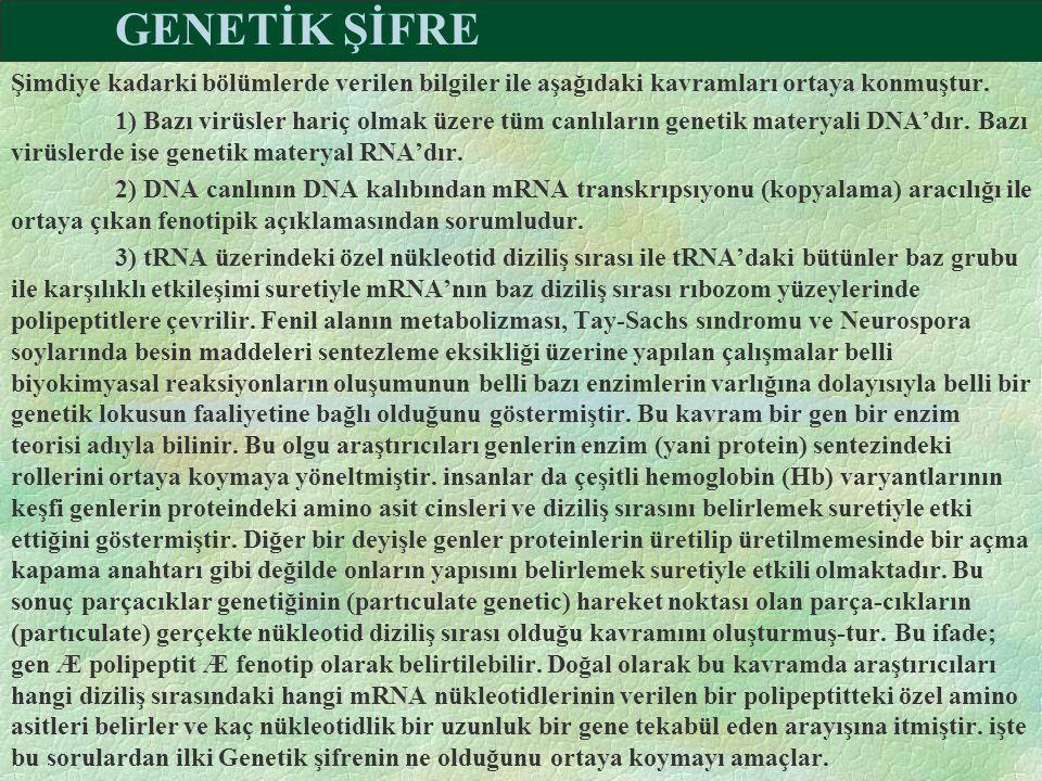 GENETİK ŞİFRE Şimdiye kadarki bölümlerde verilen bilgiler ile aşağıdaki kavramları ortaya konmuştur.