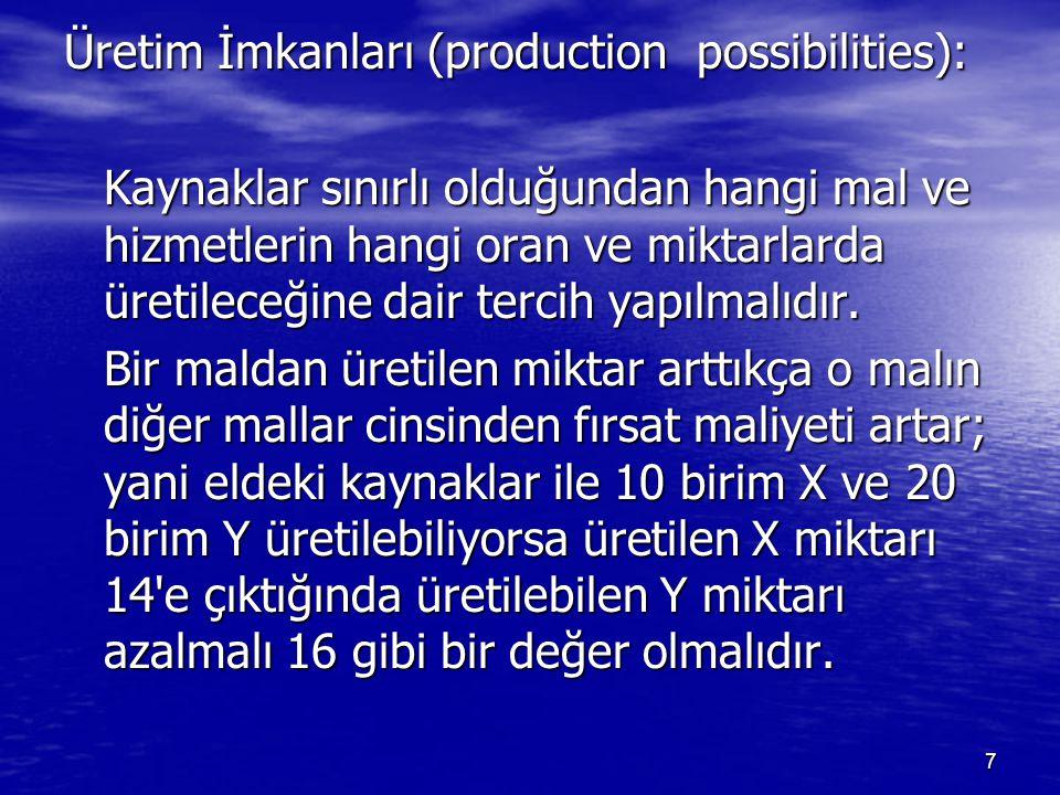Üretim İmkanları (production possibilities): Kaynaklar sınırlı olduğundan hangi mal ve hizmetlerin hangi oran ve miktarlarda üretileceğine dair tercih yapılmalıdır.