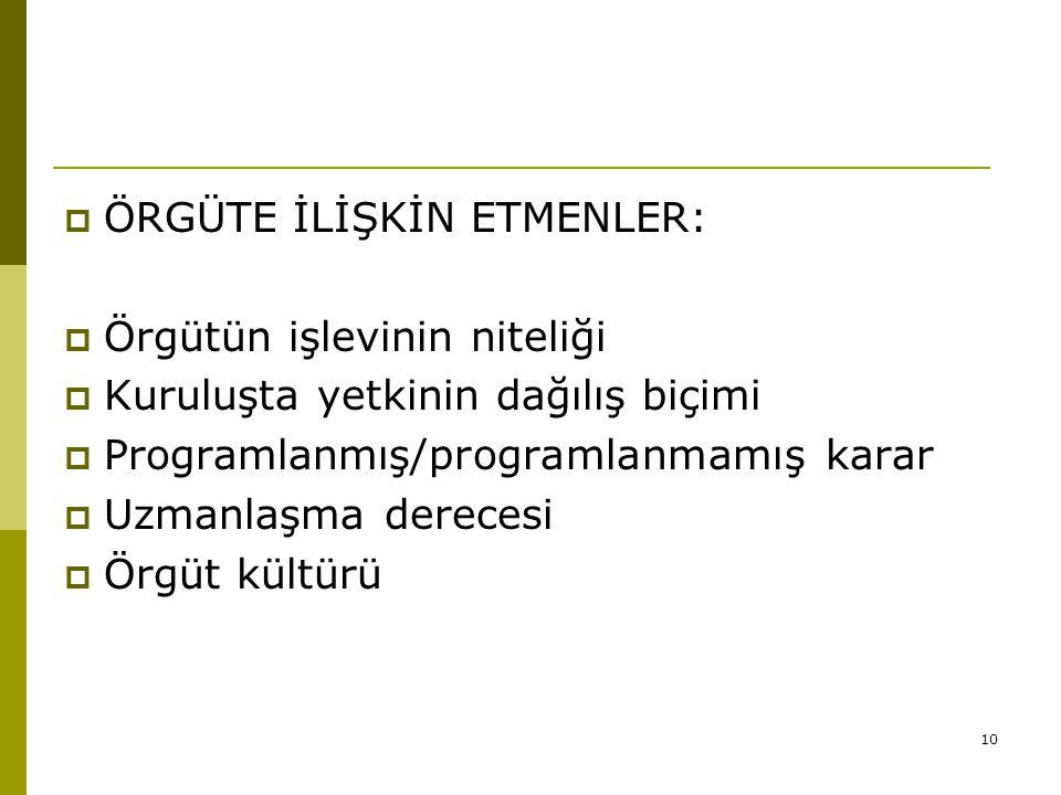 ÖRGÜTE İLİŞKİN ETMENLER: