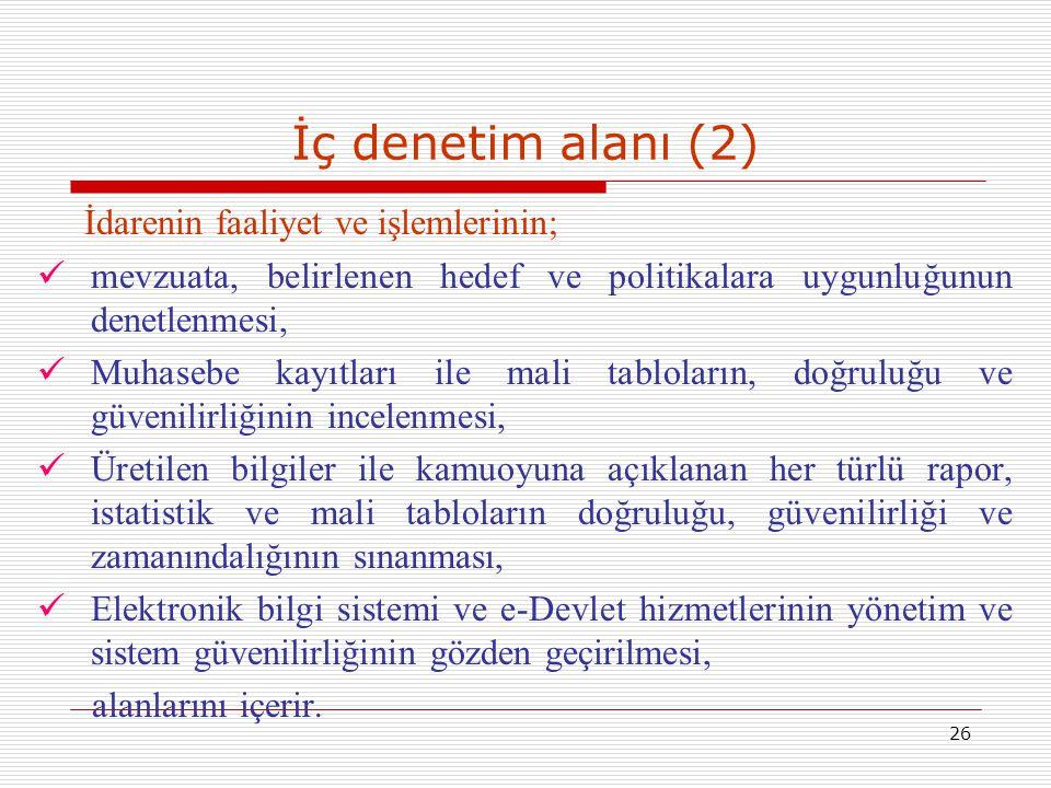 İç denetim alanı (2) İdarenin faaliyet ve işlemlerinin;