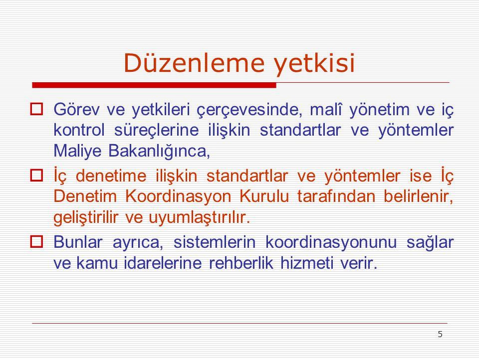Düzenleme yetkisi Görev ve yetkileri çerçevesinde, malî yönetim ve iç kontrol süreçlerine ilişkin standartlar ve yöntemler Maliye Bakanlığınca,