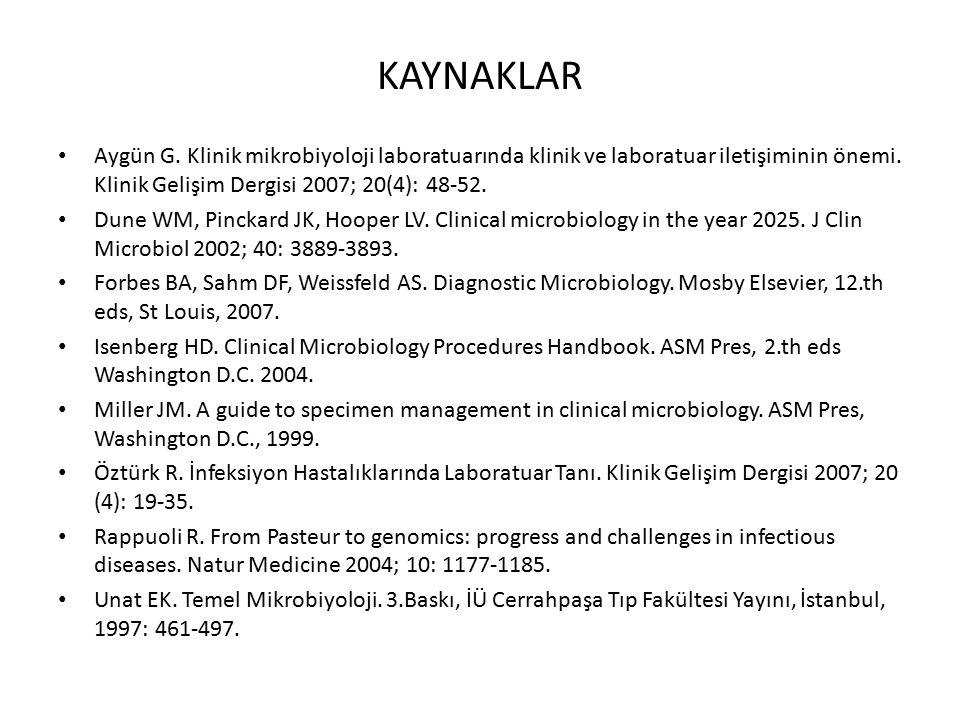 KAYNAKLAR Aygün G. Klinik mikrobiyoloji laboratuarında klinik ve laboratuar iletişiminin önemi. Klinik Gelişim Dergisi 2007; 20(4): 48-52.