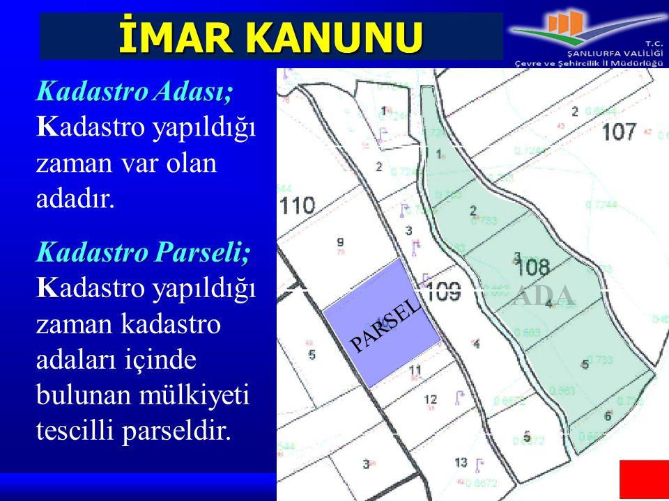 İMAR KANUNU Kadastro Adası; Kadastro yapıldığı zaman var olan adadır.