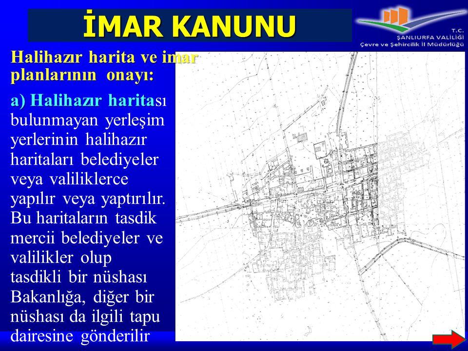 İMAR KANUNU Halihazır harita ve imar planlarının onayı: