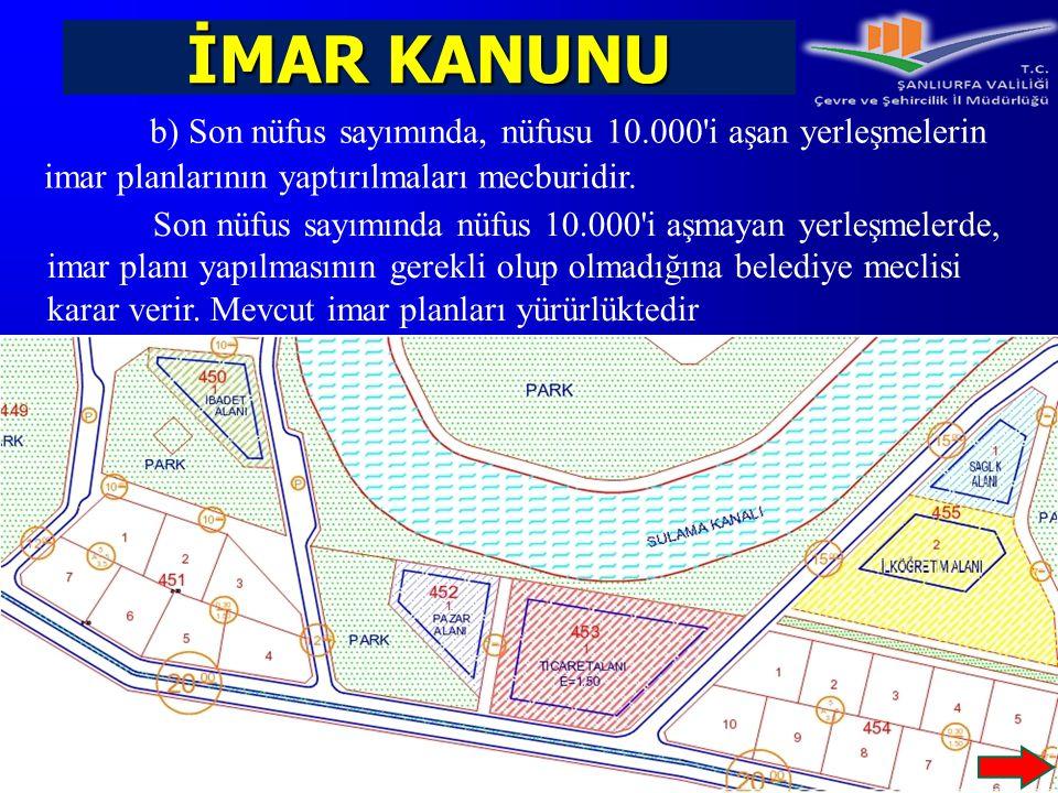 İMAR KANUNU b) Son nüfus sayımında, nüfusu 10.000 i aşan yerleşmelerin imar planlarının yaptırılmaları mecburidir.