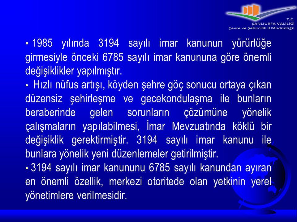 1985 yılında 3194 sayılı imar kanunun yürürlüğe girmesiyle önceki 6785 sayılı imar kanununa göre önemli değişiklikler yapılmıştır.