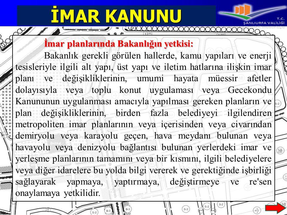 İMAR KANUNU İmar planlarında Bakanlığın yetkisi: