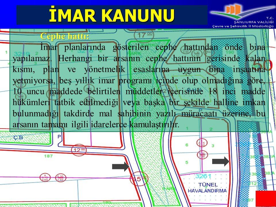 İMAR KANUNU Cephe hattı: