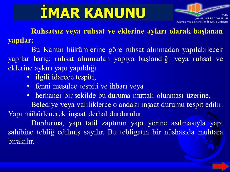 İMAR KANUNU Ruhsatsız veya ruhsat ve eklerine aykırı olarak başlanan yapılar: