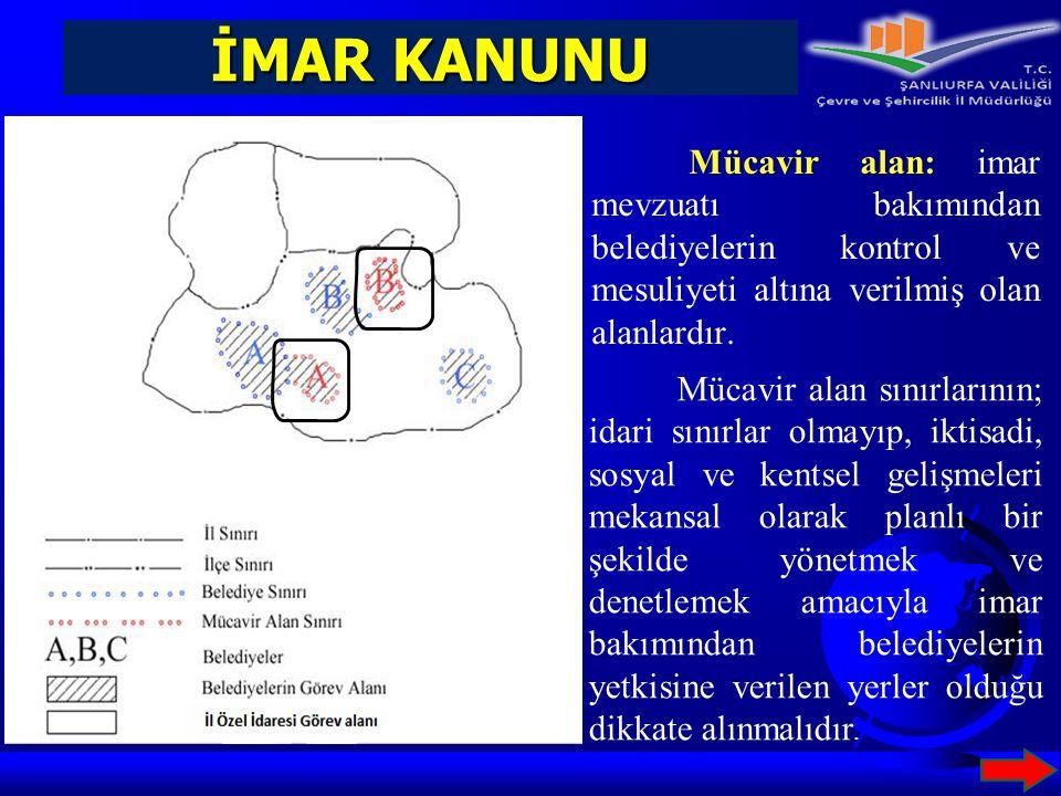İMAR KANUNU Mücavir alan: imar mevzuatı bakımından belediyelerin kontrol ve mesuliyeti altına verilmiş olan alanlardır.
