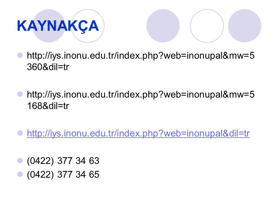 KAYNAKÇA http://iys.inonu.edu.tr/index.php web=inonupal&mw=5360&dil=tr