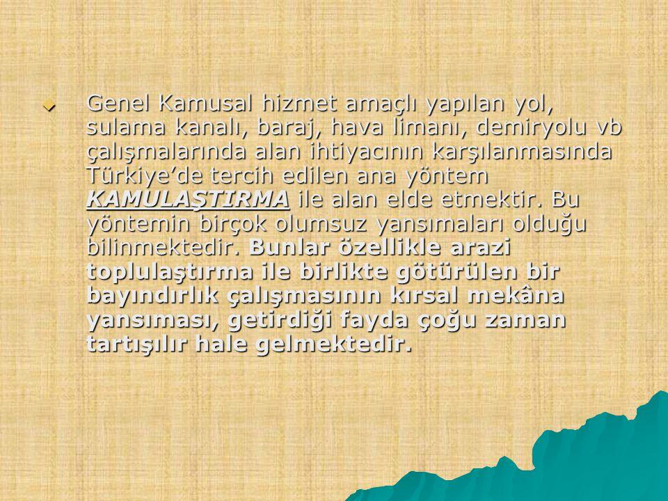 Genel Kamusal hizmet amaçlı yapılan yol, sulama kanalı, baraj, hava limanı, demiryolu vb çalışmalarında alan ihtiyacının karşılanmasında Türkiye'de tercih edilen ana yöntem KAMULAŞTIRMA ile alan elde etmektir.