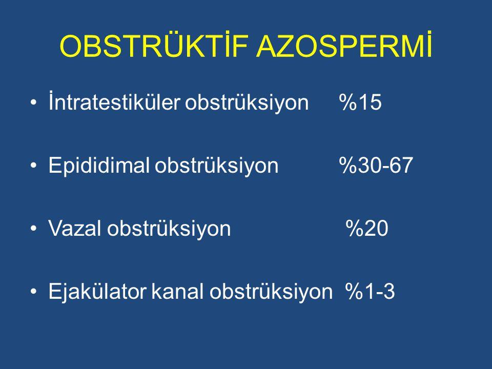 OBSTRÜKTİF AZOSPERMİ İntratestiküler obstrüksiyon %15