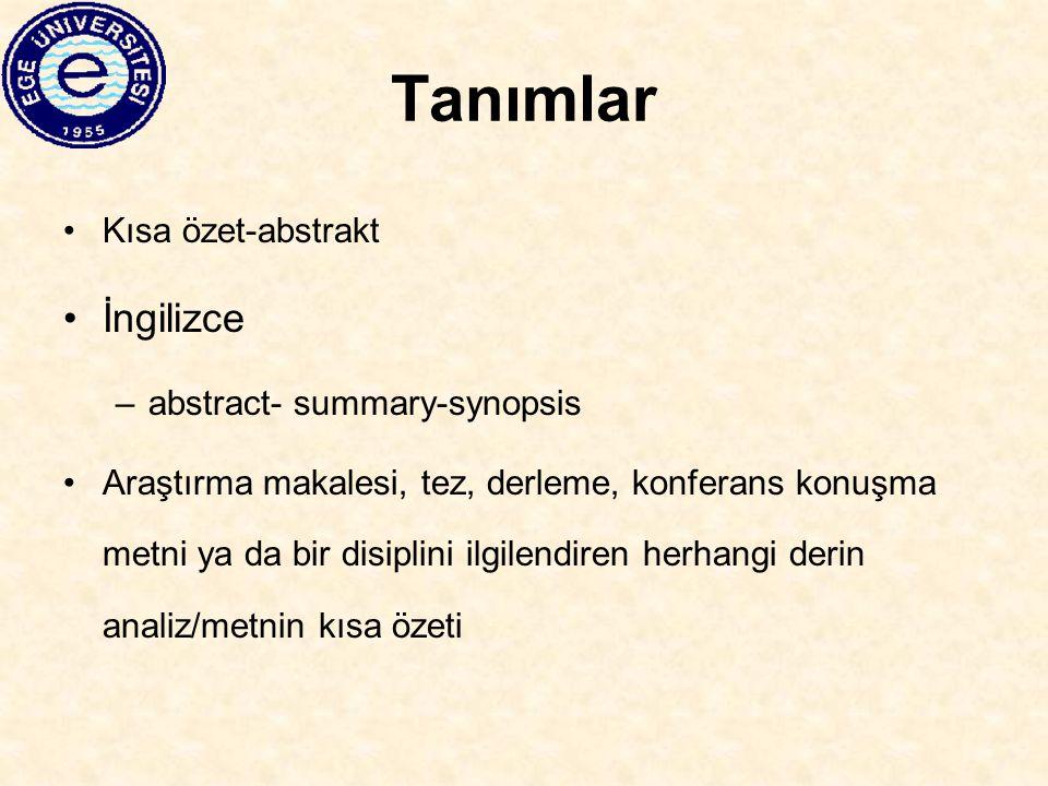 Tanımlar İngilizce Kısa özet-abstrakt abstract- summary-synopsis