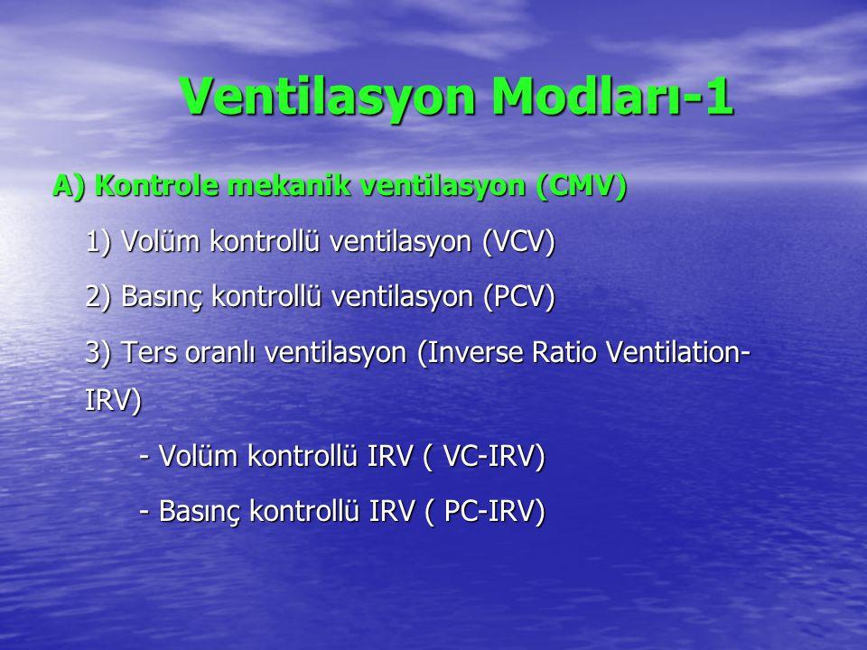 Ventilasyon Modları-1 A) Kontrole mekanik ventilasyon (CMV)