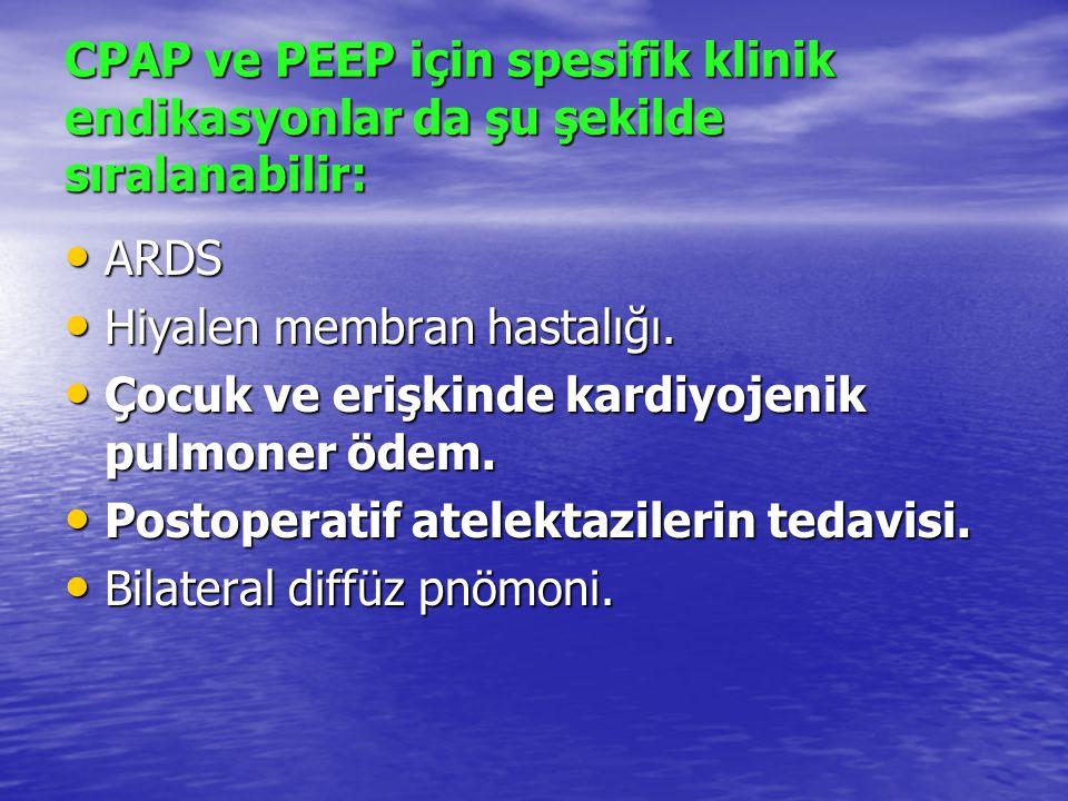 CPAP ve PEEP için spesifik klinik endikasyonlar da şu şekilde sıralanabilir: