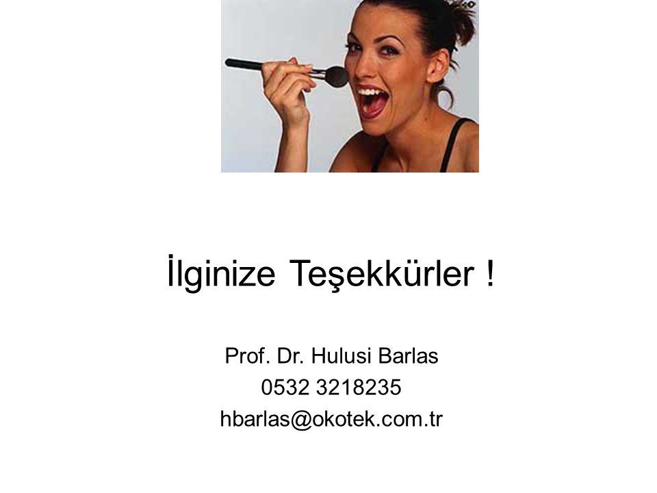 İlginize Teşekkürler ! Prof. Dr. Hulusi Barlas 0532 3218235