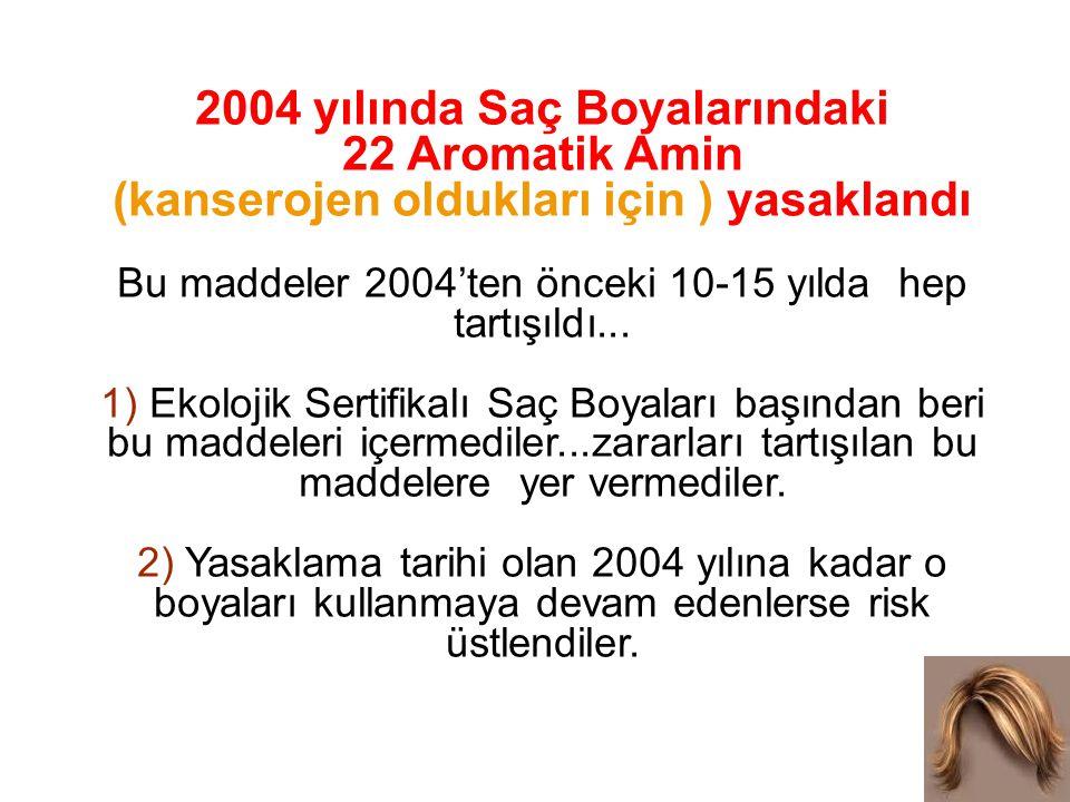 2004 yılında Saç Boyalarındaki 22 Aromatik Amin (kanserojen oldukları için ) yasaklandı Bu maddeler 2004'ten önceki 10-15 yılda hep tartışıldı...