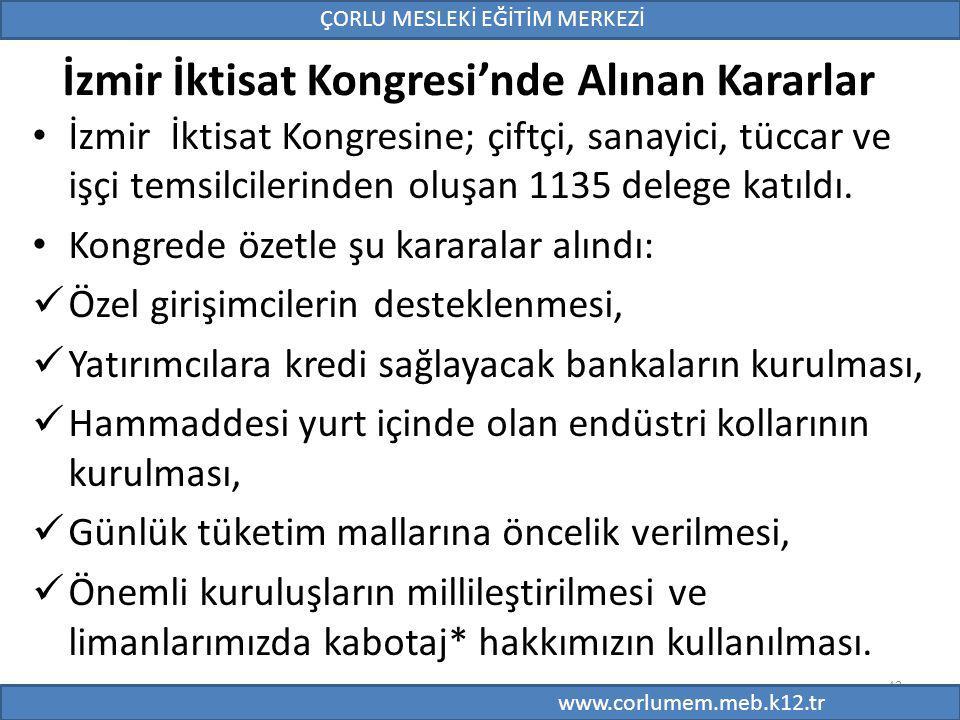 İzmir İktisat Kongresi'nde Alınan Kararlar