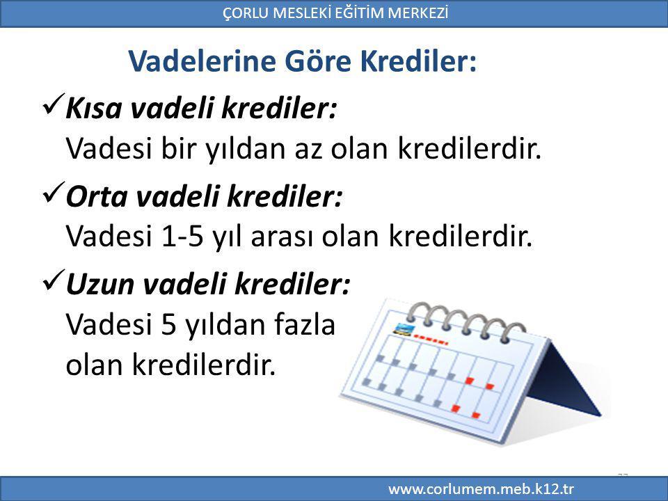 Vadelerine Göre Krediler: