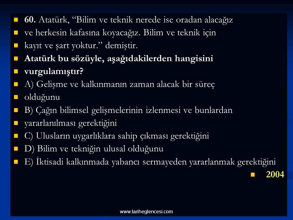 60. Atatürk, Bilim ve teknik nerede ise oradan alacağız