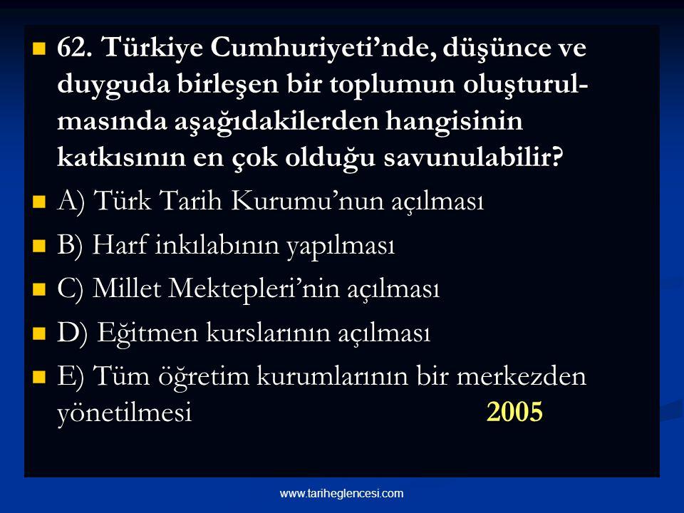 A) Türk Tarih Kurumu'nun açılması B) Harf inkılabının yapılması