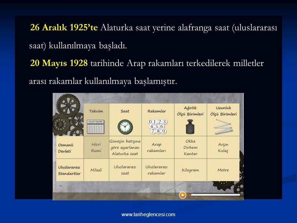 26 Aralık 1925'te Alaturka saat yerine alafranga saat (uluslararası saat) kullanılmaya başladı.