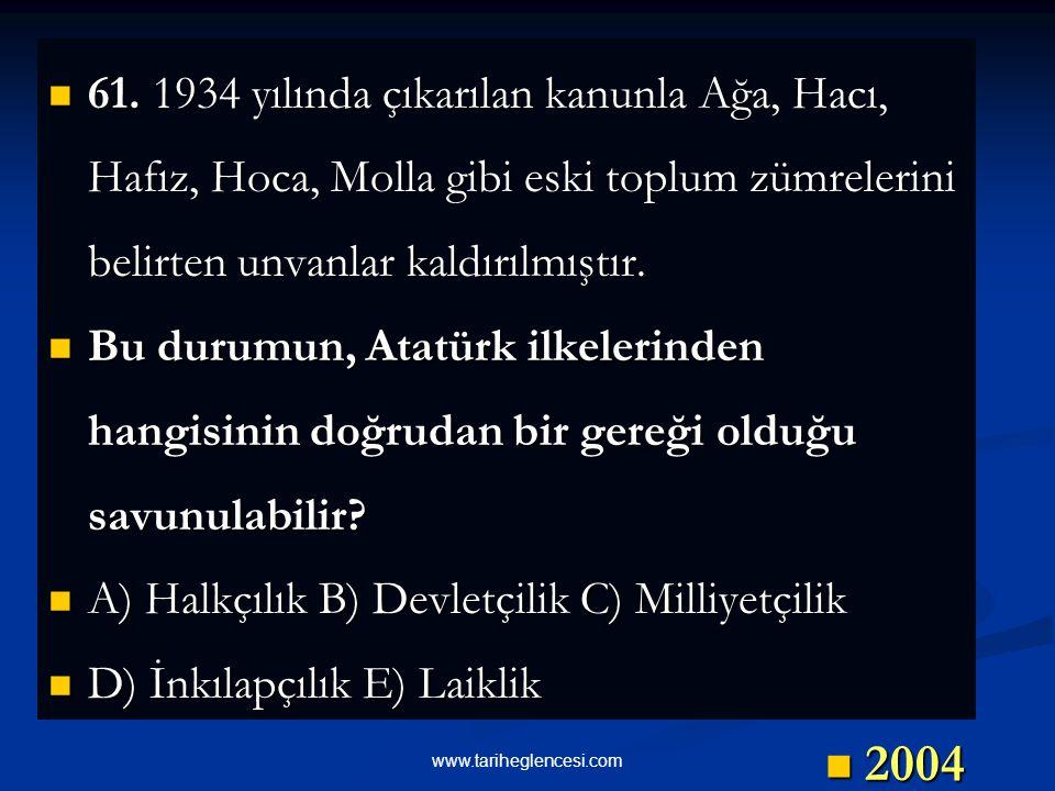 61. 1934 yılında çıkarılan kanunla Ağa, Hacı, Hafız, Hoca, Molla gibi eski toplum zümrelerini belirten unvanlar kaldırılmıştır.