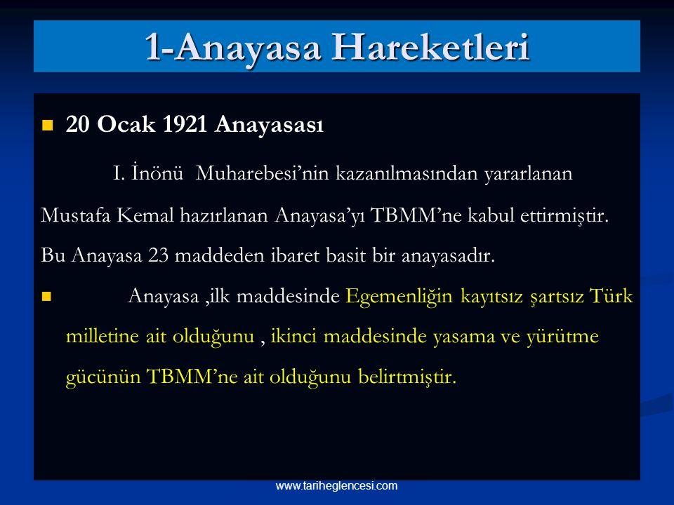 1-Anayasa Hareketleri 20 Ocak 1921 Anayasası