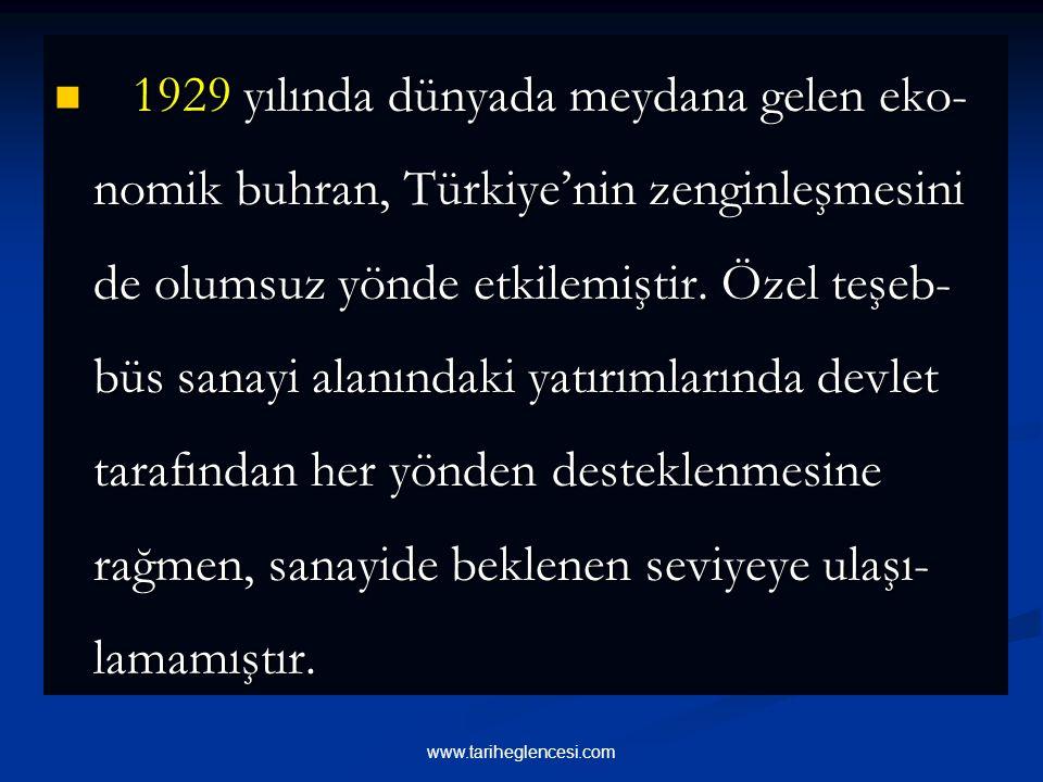 1929 yılında dünyada meydana gelen eko-nomik buhran, Türkiye'nin zenginleşmesini de olumsuz yönde etkilemiştir. Özel teşeb-büs sanayi alanındaki yatırımlarında devlet tarafından her yönden desteklenmesine rağmen, sanayide beklenen seviyeye ulaşı-lamamıştır.