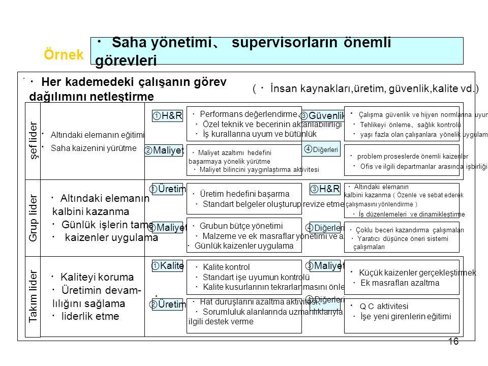 ・Saha yönetimi、 supervisorların önemli görevleri