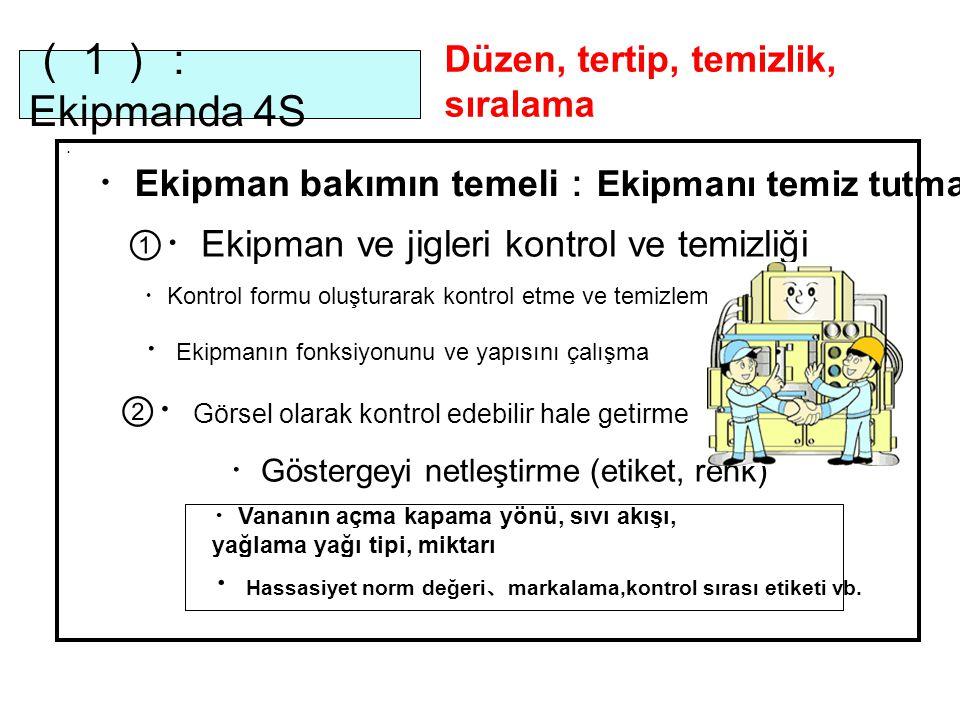 (1):Ekipmanda 4S Düzen, tertip, temizlik, sıralama